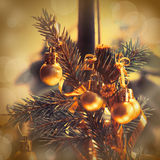 Christmas ball on xmas tree Stock Photo