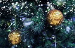 Christmas ball on xmas tree with snow in winter stock image