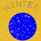 Christmas ball on a yellow batskground. Blue Christmas ball with snowflakes on a yellow batskground Royalty Free Stock Photography