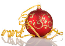 Christmas ball with yellow ribbon. On white background Royalty Free Stock Images