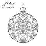Christmas ball zen-doodle art for adult coloring book page. Christmas ball zen-doodle ornate pattern. New Year 2017. Vector hand drawn artistic ethnic ornament Royalty Free Stock Photos