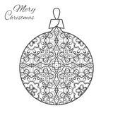 Christmas ball zen-doodle art for adult coloring book page. Christmas ball zen-doodle ornate pattern. New Year 2017. Vector hand drawn artistic ethnic ornament Royalty Free Stock Image