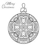Christmas ball zen-doodle art for adult coloring book page. Christmas ball zen-doodle ornate pattern. New Year 2017. Vector hand drawn artistic ethnic ornament Stock Photos