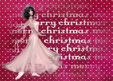Christmas Ballerina Background. A unique design of a dotted background with the words merry christmas cutout. Then a lovely ballerina dancer was added to give it royalty free stock photography