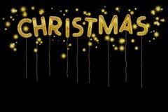 Christmas balloons and stars. Seasonal background. Foil style ba Stock Photography