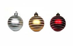 Christmas balls 1-2-3. 3 isolated Christmas balls on white background Royalty Free Stock Image