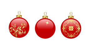 Christmas balls. Three christmas glass balls. Vector illustration stock illustration