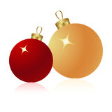 Christmas balls. Two christmas glass balls isolated on a white. Vector illustration Stock Photography