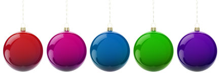Christmas balls. Multi-colored Christmas balls hanging on white. 3d render with HDR Royalty Free Stock Photo