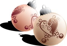 Christmas balls. With tribal heart, layered and grouped illustration for easy editing Royalty Free Stock Image