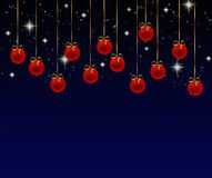 Christmas balls. Series of red Christmas balls on a blue background vector illustration