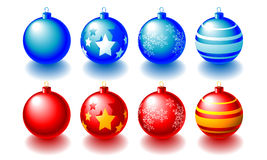 Christmas Balls. Abstract  illustration of red and blue christmas balls over white Royalty Free Stock Photography