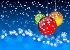 Christmas balls. Blue background with tree balls Royalty Free Stock Photography
