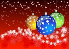 Christmas balls. Red background with three balls Royalty Free Stock Photos