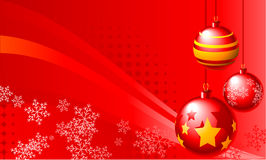 Christmas Balls. Abstract  illustration of red christmas balls over a red background Stock Photography