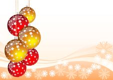 Christmas balls. Orange christmas background with red and gold balls Stock Image
