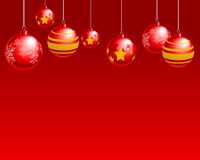 Christmas Balls. Abstract  illustration of red christmas balls over a red background Royalty Free Stock Photography