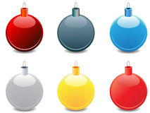 Christmas balls. Various shiny christmas balls with different colors Stock Photos