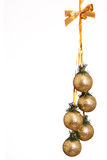 Christmas balls. With golden glitters on white Stock Photos