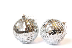 Christmas balls. Disco balls. Isolated on white royalty free stock image