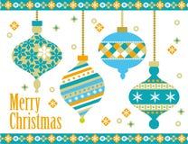 Christmas balls. Christmas card with vintage balls Stock Image