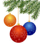 Christmas balls. Christmas tree branch with balls on white background - vector illustration Stock Photography