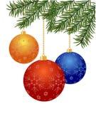 Christmas balls. Christmas tree branch with balls on white background - vector illustration vector illustration