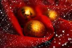 Christmas balls. Over red background Royalty Free Stock Photos