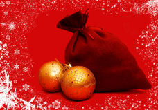 Christmas balls. Over red background Royalty Free Stock Photo