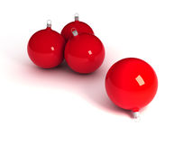 Christmas balls. Three red christmas balls isolated over white 3d royalty free illustration