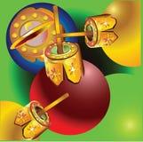 Christmas balls. Colourful Christmas balls with green fon Stock Photos