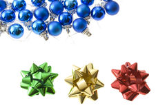 Christmas balls. Christmas-tree balls with lace and bows isolated on white stock photography
