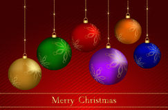 Christmas balls. Vector illustration of beautiful christmas balls in six colors Royalty Free Stock Photography