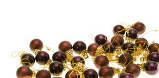 Christmas balls. Bordeaux christmas-tree balls with gold isolated on white stock photography