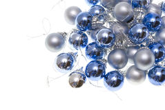 Christmas balls. Christmas-tree balls with lace isolated on white royalty free stock image
