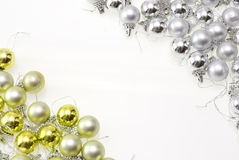 Christmas balls. Christmas-tree balls with gold and silver isolated on white stock photo