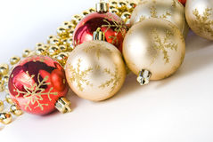 Christmas balls. Small christmas balls with beads Stock Photo