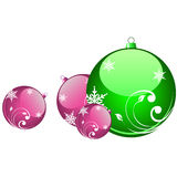 Christmas balls. Various shiny christmas balls with different colors Royalty Free Stock Photos