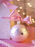 Christmas balls. Christmas decoration close-up with christmas balls and christmas tree in background stock photography