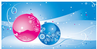 Christmas balls. Red and blue Christmas balls on winter background Royalty Free Stock Photo