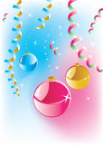 Christmas balls. Ribbons, confetti and other decoration Stock Images