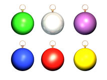 Christmas balls. Different colored christmas balls-over white, computer generated Royalty Free Stock Images