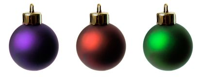 Christmas balls. Three different shades of christmas balls on isolated white background Stock Photo