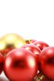 Christmas balls. Christmas tree decoration, red and gold Royalty Free Stock Photography