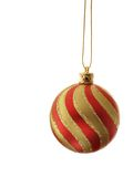 Christmas balls. Two stripy christmas balls isolated over white background stock images