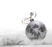 Christmas balls. In fur isolated on white stock photo