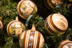 Christmas balls. A buch of christmas balls on the tree Royalty Free Stock Image