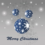 Christmas balls. Blue christmas balls and snowflakes Stock Photography