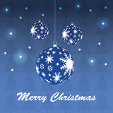 Christmas balls. Blue christmas balls and snowflakes Stock Images