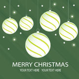 Christmas balls. White Christmas balls on a green background Vector Illustration